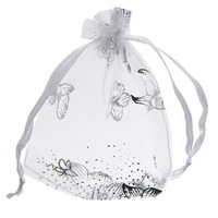 100pcs Luxury Jewerly Bags Organza Jewerly Pouch Gift Bags With Beautiful Butterfly Patterns