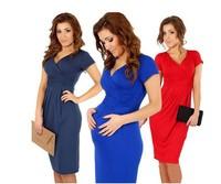 Womens Pregnant Maternity sexy  Dress Bowknot Skirt Short Sleeve Dress