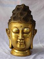 "15"" Chinese 100% Pure Bronze Gold Gilt Kwan-yin Guanyin Head Buddha God States"
