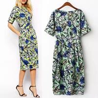 Trendy Women Flower Print Double pocket Behind Zipper Package Hip O-Neck Slim Short Sleeve Dress Party Cocktail Dresses