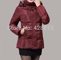 Women cotton down padded middium long jacket women hooded coat women snowwear