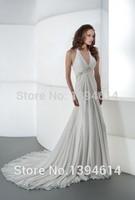2015 Chiffon Wedding Dresses V-neck Halter Ruching Empire Beaded Belt Crystal Jeweling Sheath Court Train Gowns