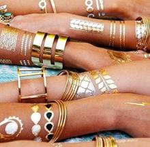2015 new sex product temporary tattoo necklace choker bracelet flash tatoo henna tatouage metalic gold tattoos fake body art(China (Mainland))