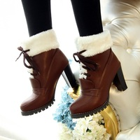 free shipping fashion platform front strap thick heel round toe boots ultra high heels boots winter boots