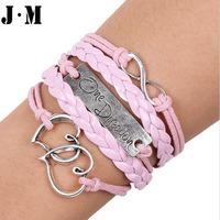 DIY handmade braided fashion double heart Europe style band name bracelets, pink women trendy style heart shape charm bracelets