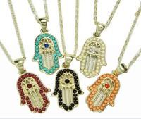 Vintage hamsa necklace Simulated gemstone Stylish hamsa Fatima's palm pendant necklaces women xmas gifts 12pcs
