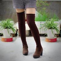 New 2014 Winter Stovepipe Snow Woolen Block Heel Thigh Tall High Heels Platform   Boots Platform Knee-high Boots for Women