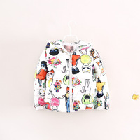 fashion thick warm winter children girl cartoon cat floral hooded padded coat jackets
