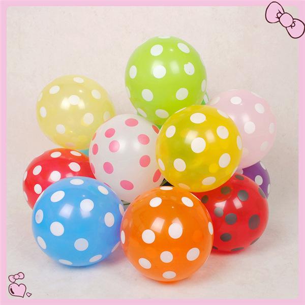 Good Smell 100pcs/lot 12'' Wedding Decoration Polka Dot Balloons Mixed Colors Party decoration polka dot balloon free shipping(China (Mainland))