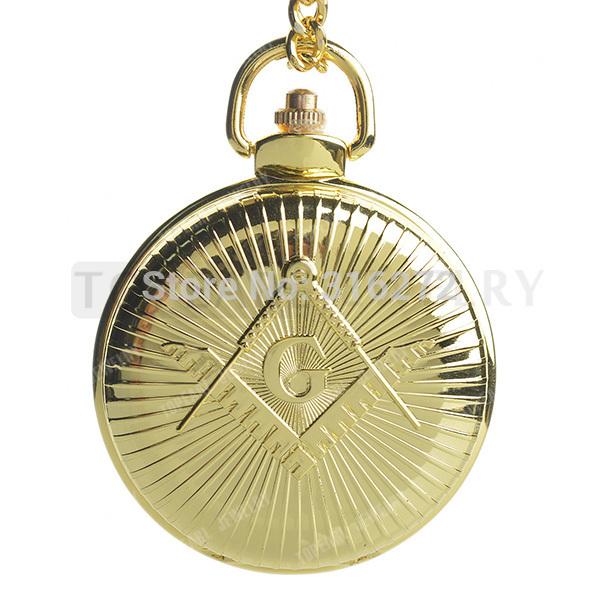 Free shipping! Gold Case Freemasonry Masonic Quartz Pocket Watch Full Hunter LPW273(China (Mainland))
