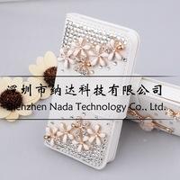 Luxury Flower Bear Pendant Butterfly Tower Zebra Mirror Pearl Rhinestone Flip Diamond Case for iPhone 6 6G 4.7inch Case