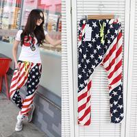 Women & Lady fashion AMERICAN FLAG harem pants Loose casual high stree hip hop pants/harem baggy pants US FLAG tights pants