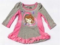 1pc retail Children/kids/girls SOFIA autumn/spring clothing / top / long sleeve T-shirt / dress , christmas gift for girl