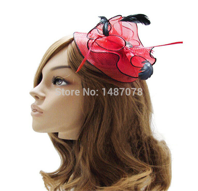 Fashion Fascinator Flower Ostrich Feather Cocktail Hat Hair Accessories For Women Couture Headpieces Headdress bridal veil(China (Mainland))