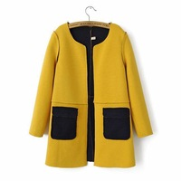 Korean fashion wear draping Seamless sides of personality spell color coat jacket women colthes 110105