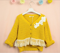 High Quality Fashion Korean style Y Neck Solid Girls Sweaters Lace Knitted Cardigans For Kids Children Sweater Yellow Brown