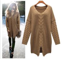 Stylish split eldest twist in hedging long-sleeved sweater loose sweaterKB675
