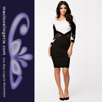 Free Shipping ML18112 Deep V Back M/L Long Sleeve Office Dresses New Sexy Fashion Black White Work Winter Women Bodycon Dress