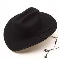 100%  wool western cowboy wool felt hat  black color elastic band winter hat  S M L XL Cowboy Hat Size