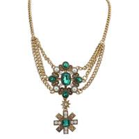Fashion woman retro snowflake necklace Heart 18K gold cross chain necklace 110302