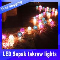 35 PCS Led Christmas Takraw Light  LED  White/Blue/Purple Sepak Takraw string lights AC 220V Wedding/Party Decoration Light