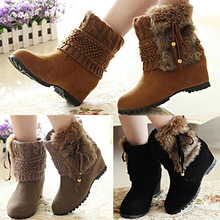 2014 New Womens Winter Boots Faux Fur Fringe Womens Snow Boots Casual Ladies Warm Boots Shoes Wholesales(China (Mainland))
