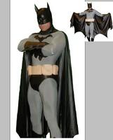 Black cloak Batman suit Full Body Spandex / lycra Zentai Body Adult  suit For party Halloween masquerade Group performance