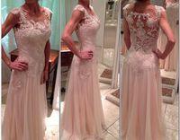 2015 Fashion Champagne Sleeve Evening Dress Lace Beaded Chiffon  Dress Party Evening Elegant