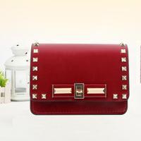 2014 women's fashion genuine leather handbag quality fashion all-match cowhide rivet bag messenger bag