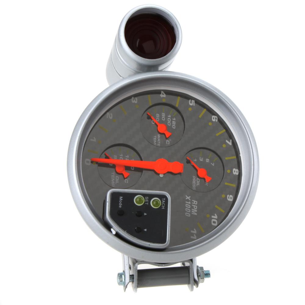 5''Universal carro multifuncional Tach bitola 4 em 1 Tacômetro Indicador de RPM Temperatura do Óleo Pressão Temperatura Medidor de Carbono(China (Mainland))