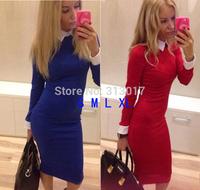 S-XL New fashion autumn and winter women's long sleeve shirt neck slim sexy dress ladies thin dress women's clothing #JM434