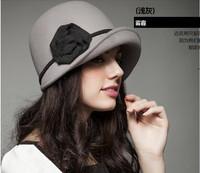 Free shipping! Fashion Winter Autumn Women's wool% woolen flower hat caps , Gary and dark grey, one size