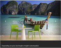 Free shipping custom- modern 3D large mural living room sofa bedroom TV backdrop wallpaper Boat Thai Beach Wall Mural