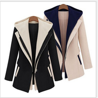 S-4XL 2014 Winter Fashion Jacket Blazer Women Suit Foldable Long Sleeves Lapel Coat Plus Size Zipper Solid Long Sleeve Fall07