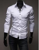 AI14102503 Free Shipping High Quality Fashion Individual Plus Size M-XXXL Man 100% Cotton Shirts