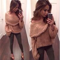 Autumn Female Crochet Knit Coat Boat Neck Lapel Sweater Top Cardigan Jumper