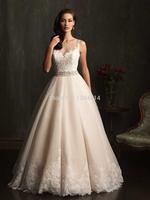 2015 Elegant Lace Wedding Dress Ball Gown Beading Sweetheart Tank Sleeveless See-Through Floor-Length Bridal Gown