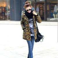 2014 new fashion hand add cotton wadded women long camouflage coat with big fur hooded collar thcken parkas 08
