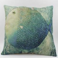 Free shipping 18''X18'' Fat blue Mermaid nostalgia originality sofa chair office cushion cover pillow cover