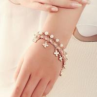 New Design Fashion Women Bracelet Jewelry Multilayer Leather Rope Chain Flower Pearl Charm Bracelet  FB0260