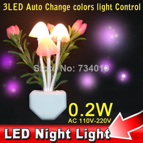 2014 AC 110-220V US/EU LED Light Sensor Control Rose Flower Mushroom Romantic Love Mood Lamp Night Light 6 Color Changing(China (Mainland))