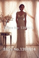 2015 New Arrival Sexy V-Neckline and V-Back Design Elegant Lace with Beaded on Waist and Cap Sleeve Wedding Dresses Bridal Gowns