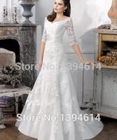 Top Organza Lace Applique Wedding Dresses Scoop Neck Ruched Sash Satin Belt Bow Floor Length Court Train Half Sleeves