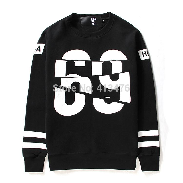 2014 homens hip hop HBA Casacos pulôver moleton HOOD BY AIR hoodies suéter clássicos 69 impressão roupas de marca algodão de lã(China (Mainland))