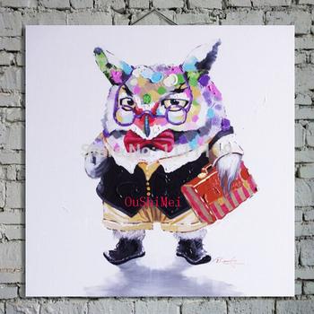 Горячая ручная роспись сова животные картина маслом для гостиной настенные панно абстрактные картины с рамкой картины декор