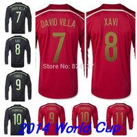 New Fashion Thailand 2014 New A.Iniesta Torres Fabregas Ramos Red Black Silva J.Navas DE GEA Long Sleeve Jerseys Soccer Jersey