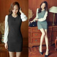 E-Unique New 2014 100% Cotton Long-Sleeve Chiffon Patchwork Dress Bag Basic Winter Dress Slim One-Piece Dress Female WB14