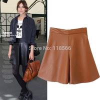 2014 Women's autumn street fashion women's a high waist wide leg PU shorts culottes
