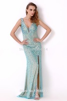 Straps heavy beaded sexy slit arabic evening dress