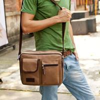 versatile shoulder bag men and Korean version flows schoolbags slung Messenger bag canvas leisure man bag retro,free shipping